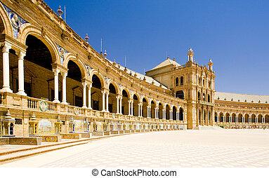 Plaza española (Plaza de espana), Sevilla, Andalusia, España