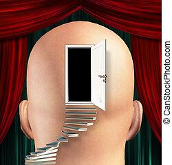 plomo, mente, escaleras, puerta, arriba