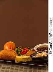 Ploughmans almuerza con queso stilton, copia espacio, arriba