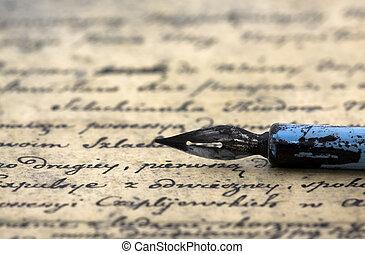 pluma, antiguo, carta