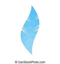 Pluma azul aislada. Pájaro suave, pluma suave. ?