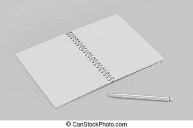 pluma, blanco, natural, bloc, aislado, sombras, vacío, plata, 3d, render, blanco, memorándum, ilustración