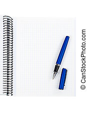 pluma, cuaderno, hoja, blanco