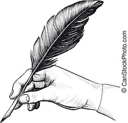 pluma, dibujo, pluma, mano