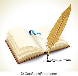 pluma, libro, herramienta, abierto, tinta