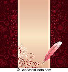 Pluma rosa y pergamino beige en fondo oscuro con corazones