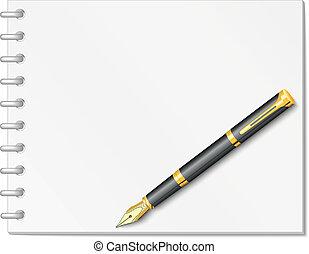 pluma, tinta, cuaderno, espiral