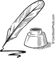 pluma, tintero, bosquejo, púa