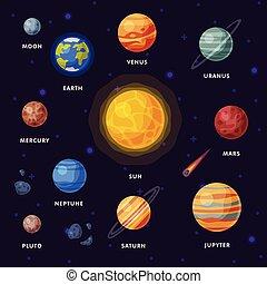 plutón, urano, solar, saturno, galaxia, universo, mercurio, ilustración, júpiter, tierra, venus, planetas, marte, luna, neptuno, sistema, vector