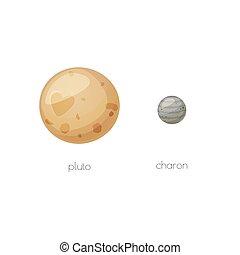 Pluto y su corona lunar, objetos espaciales