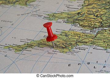 Plymouth marcado con un alfiler rojo