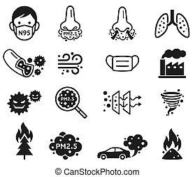 p.m., vector, polvo, 2.5, micro, icons., illustrations.