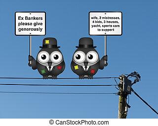 Pobres banqueros de poca monta rogando que la gente dé generosamente ropa andrajosa colgada de cables eléctricos
