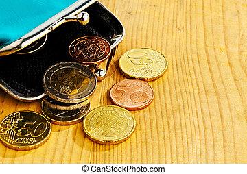pobreza, monedas., deuda, bolsa