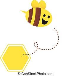 poco, abeja, -, miel, vector, vuelo