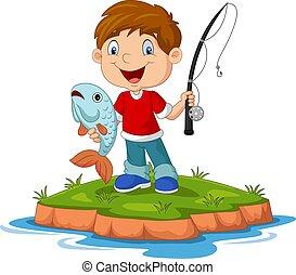 poco, caricatura, feliz, pesca, niño