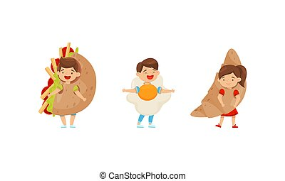 poco, croissant, el gozar, conjunto, revuelto, niña, vector, carnaval, huevo, niño, vestido, equipo, imaginación