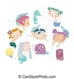 poco, debajo, caricatura, conjunto, mermaids., mar