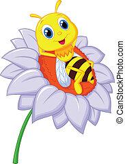 poco, descansar, abeja, caricatura, b