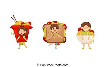 poco, el gozar, conjunto, niña, vector, carnaval, emparedado, niño, chino, vestido, equipo, fideo, imaginación