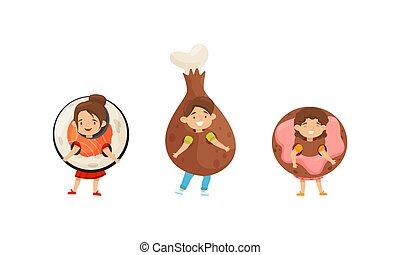 poco, el gozar, conjunto, sushi, niña, vector, carnaval, niño, rollo, pollo, vestido, equipo, pierna, imaginación