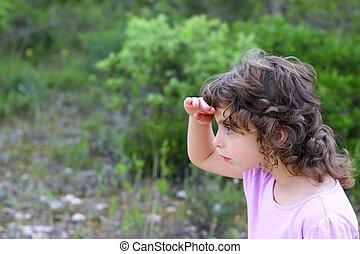 poco, explorador, parque, buscando, bosque, niña