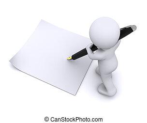 poco, grande, carácter, escribir, pluma, tarjeta, 3d