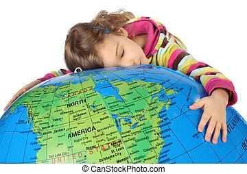 poco, grande, inflable, él, mentiras, cerrado, se abrazar, niña, ojos, globo