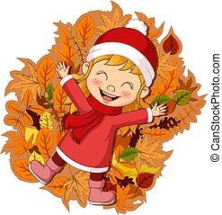 poco, hojas, feliz, otoño, caricatura, niña, acostado