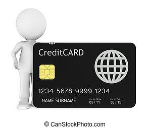 poco, humano, credito, tenencia, tarjeta, 3d