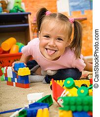 poco, juego, niña, preescolar, juguetes