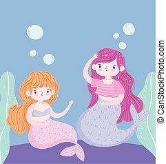 poco, mar, debajo, sirenas, caricatura, decoración, lindo