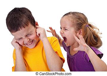 poco, niños, -, gritos, cólera, niña, pelea