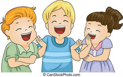 poco, niños, reír