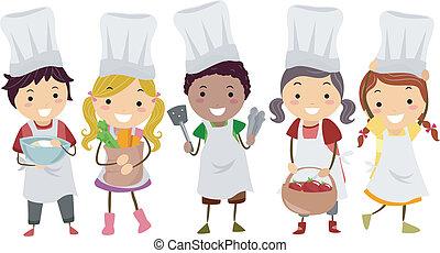 poco, niños, stickman, chefs, ilustración