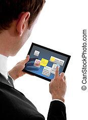 poco, programms, widget, touchpad, pc, tenencia, hombre de negocios, utilizar