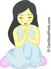 poco, rezando, niña bonita, lindo, arrodillar