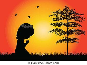 poco, rezando, niña, silueta