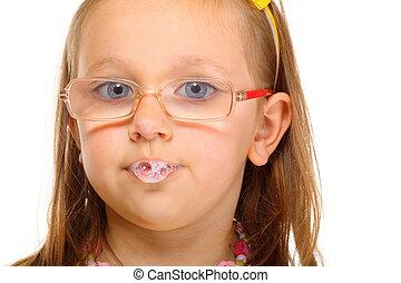poco, saliva, arriba, diversión, cierre, niña, burbujas, anteojos