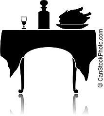 poco, tabla, restaurante