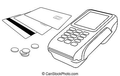 pocos, coins, terminal, pos, tarjetas de crédito, contornos