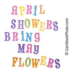 poder, abril, flores, duchas, traer