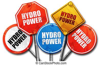 Poder hidroeléctrico, representación 3D, dura colección de letreros de la calle