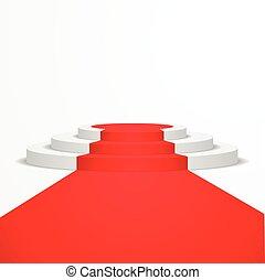 Podio con alfombra roja