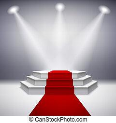 podio de escenario iluminado con alfombra roja