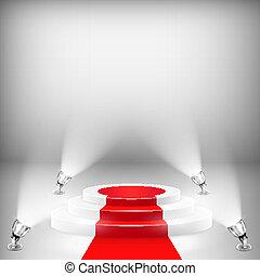Podio iluminado con alfombra roja
