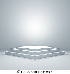 podio, iluminado, vacío