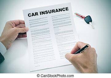 política, coche, firma, seguro, hombre