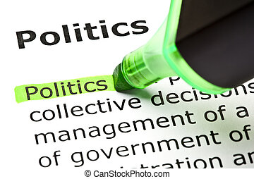 """""""política"""" resaltada en verde"""