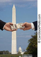 política, y, dinero